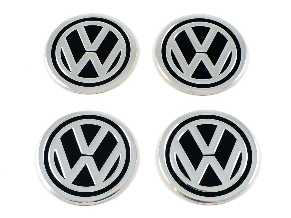 vw volkswagen 4 st ck aluminium 60mm aufkleber emblem. Black Bedroom Furniture Sets. Home Design Ideas